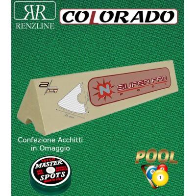 Colorado panno biliardo 43% lana e 57% poliestere. Taglio panno cm.200x168 per biliardo Pool 6 piedi, campo da gioco cm.180x90. In abbinamento set di 6 gomme sponde Longoni Super Pro, ed omaggio.