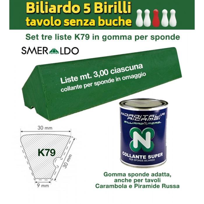Biliardo 5 birilli set 3 gomme per sponde, tavolo internazionale senza buche, Renzline Smeraldo. Profilo K79, lunghezza singola lista mt.3. Collante per sponde in omaggio.