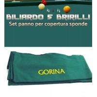 Biliardo 5 birilli panno Gorina L, per copertura sponde. Set fasce di panno Gorina L colore verde 94% lana, 6% nylon gr.370 x mq.