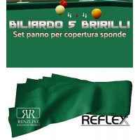 Biliardo 5 birilli panno Renzline Reflex Super Pro verde cm.305x45, per copertura sponde. Colore blu 80% lana, 20% polyamide gr.370 x mq. Il giusto complemento per qualunque panno biliardo 5 birilli.