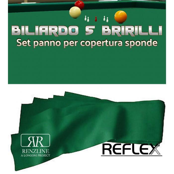 Biliardo 5 birilli panno  Reflex Super Pro verde cm.305x45, per copertura sponde. Colore verde 80% lana, 20% polyamide gr.370 x mq. Il giusto complemento per qualunque panno biliardo 5 birilli.