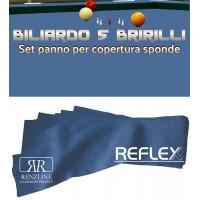 Biliardo 5 birilli panno Renzline Reflex Super Pro blu cm.305x45, per copertura sponde. Colore blu 80% lana, 20% polyamide gr.370 x mq. Il giusto complemento per qualunque panno biliardo 5 birilli.