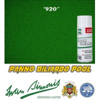 Panno biliardo Pool Iwan Simonis 920 verde inglese. Taglio cm. 250x195 copertura piano e sponde biliardo pool 8 piedi campo da gioco cm. 224x112, ardesia cm. 241x130, con omaggio.