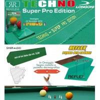 Biliardo 5 birilli Panno Longoni Techno Super Pro Edition omologato FIBIS, VG, made in Italy tavolo senza buche. Panno cm.305X160 per la copertura biliardo campo gioco cm.280x142, con panno per sponde Reflex e gomma sponde Smeraldo. Accessori omaggio