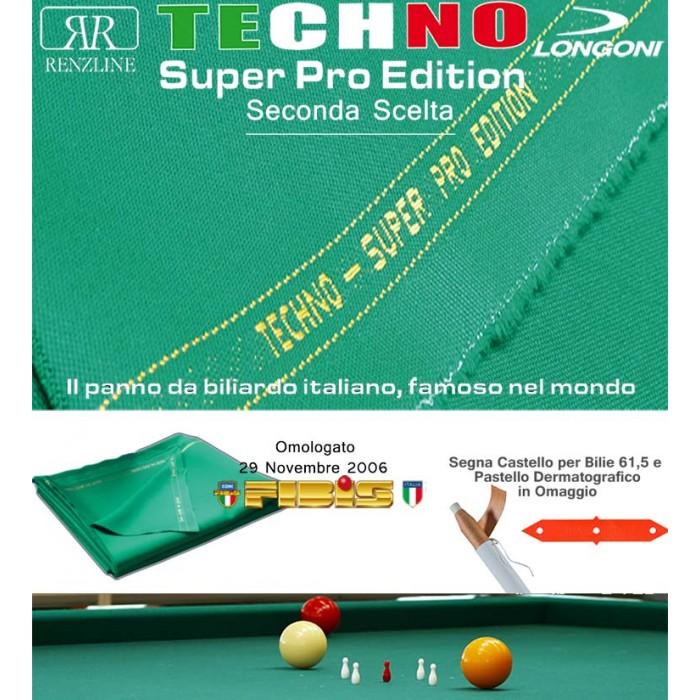 Biliardo 5 birilli Panno Techno Super Pro Edition, VG Seconda Scelta, made in Italy, tavolo internazionale senza buche. Panno cm.305x160 per copertura piano biliardo campo gioco cm.280x142, sponde escluse. Panno omologato FIBIS. Accessori omaggio.