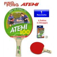 Atemi 100 racchetta da ping pong (tennis da tavolo) dorso rosso-nero, con sei (6) palline in omaggio.