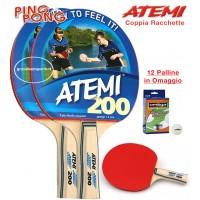 Atemi 200 coppia racchette da ping pong (tennis da tavolo) dorso rosso-nero, con dodici (12) palline in omaggio.