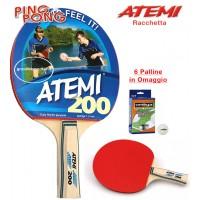 Atemi 200 racchetta da ping pong (tennis da tavolo) dorso rosso-nero, con sei (6) palline in omaggio.