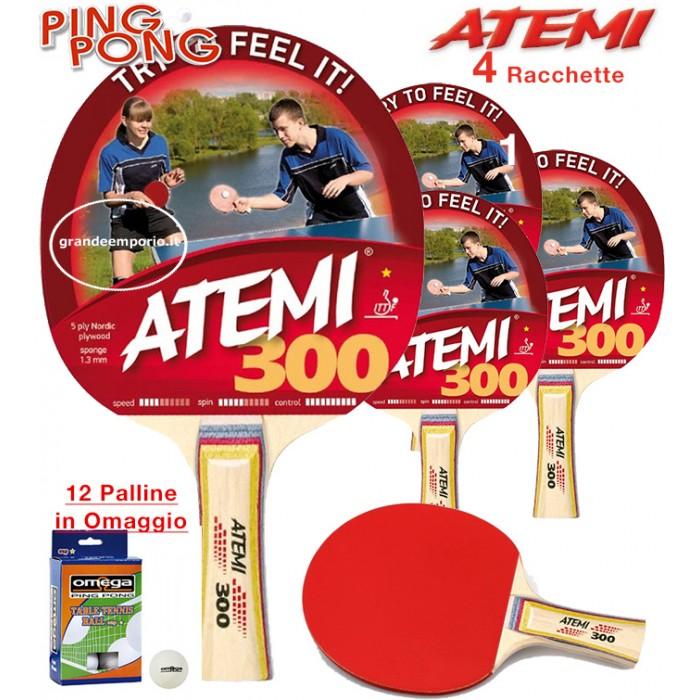 Atemi 300 quattro (4) racchette da ping pong (tennis da tavolo) omologate. dorso rosso-nero, con dodici (12) palline in omaggio.
