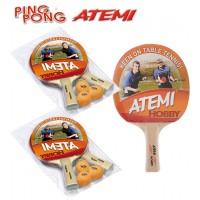 Atemi Hobby 2 set racchette da ping pong (tennis da tavolo)  set da due (2) racchette dorsi rosso-nero, con sei (6) palline 1Star arancio.