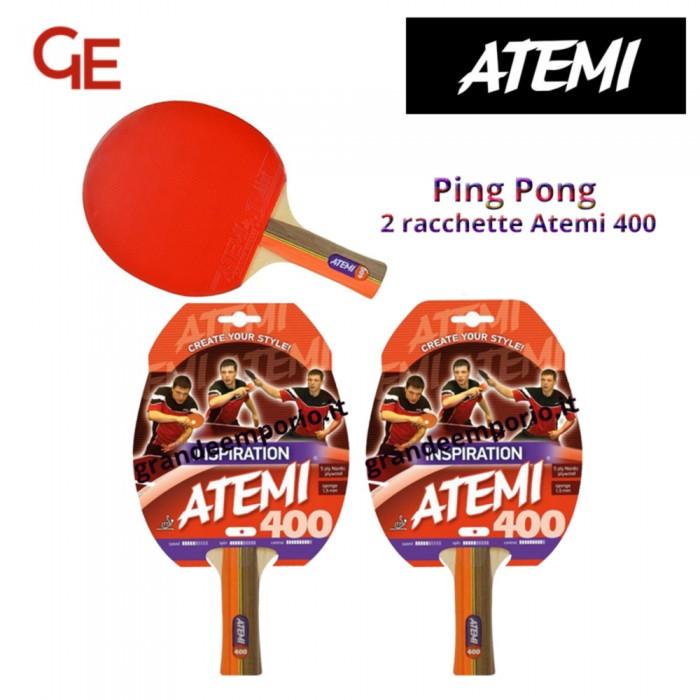 Atemi 400 linea Traning 2 racchette da ping pong (tennis da tavolo) dorso rosso-nero, modello approvato dalla Federazione Internazionale del Ping Pong.