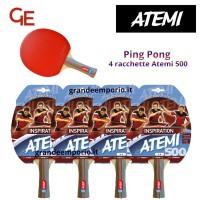 Atemi 500 linea Traning 4 racchette da ping pong (tennis da tavolo) dorso rosso-nero, modello approvato dalla Federazione Internazionale del Ping Pong.