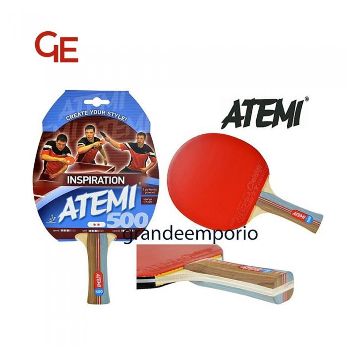 Atemi 500 linea Traning coppia di racchette da ping pong (tennis da tavolo) dorso rosso-nero, modello approvato dalla Federazione Internazionale del Ping Pong.