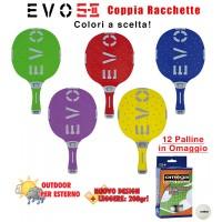 EVO S-II coppia racchette da ping pong  per esterno in nylon sfera-vetro, rivestita in gomma,  colori a scelta. Omaggio 12 palline.
