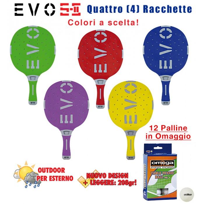 EVO S-II quattro (4) racchette da ping pong  per esterno in nylon sfera-vetro, rivestita in gomma,  colori a scelta. Omaggio 12 palline.
