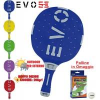 EVO S-II racchetta ping pong  Blu-Grigio per esterno in nylon sfera-vetro, rivestita in gomma, con omaggio.