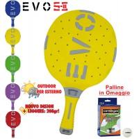 EVO S-II racchetta ping pong Giallo-Grigio per esterno in nylon sfera-vetro, rivestita in gomma, con omaggio.