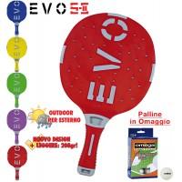 EVO S-II racchetta ping pong  Rosso_Grigio per esterno in nylon sfera-vetro, rivestita in gomma, con omaggio.