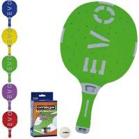 EVO S-II racchetta ping pong  Verde_Grigio per esterno in nylon sfera-vetro, rivestita in gomma, con omaggio.