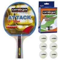 Omega Ping Pong racchetta Attack compensato-gomma con omaggio