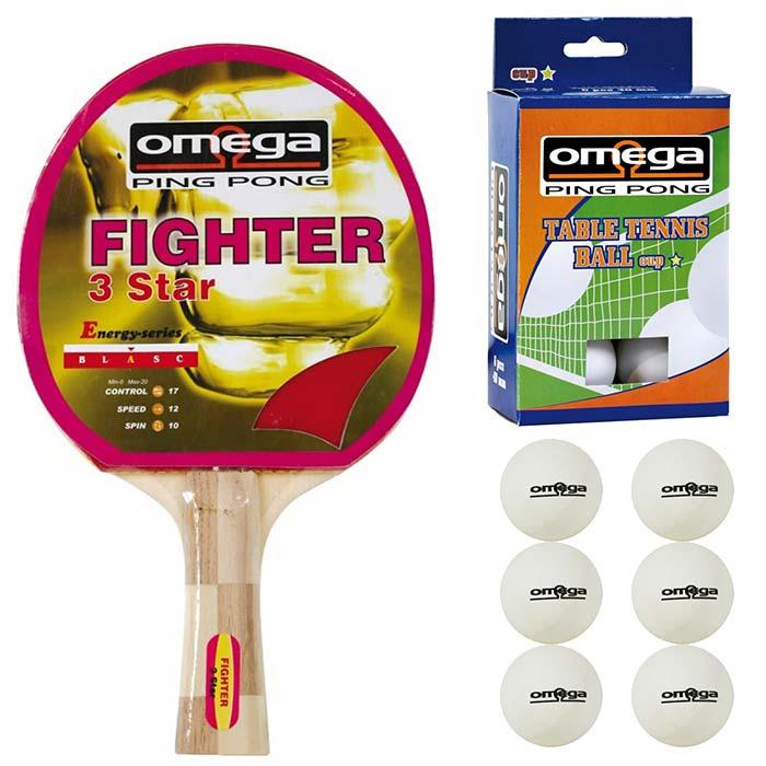 Omega Ping Pong racchetta Fighter compensato gomma con omaggio