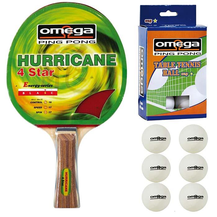 Omega Ping Pong racchetta Hurricane compensato-gomma con omaggio