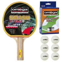 Omega Ping Pong racchetta Smash compensato-gomma con omaggio
