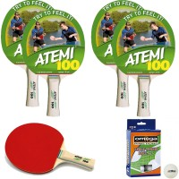 Atemi 100 quattro (4) racchette da ping pong (tennis da tavolo) dorso rosso-nero, con dodici (12) palline in omaggio.