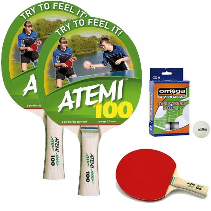 Atemi 100 coppia racchette da ping pong (tennis da tavolo) dorso rosso-nero, con dodici (12) palline in omaggio.