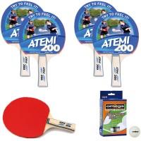 Atemi 200 quattro (4) racchette da ping pong (tennis da tavolo) dorso rosso-nero, con dodici (12) palline in omaggio.