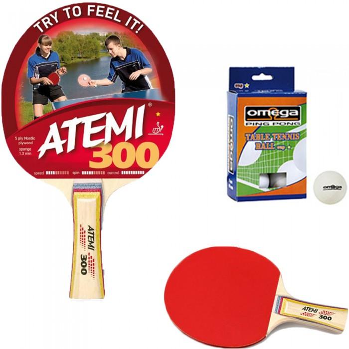 Atemi 300 racchetta da ping pong (tennis da tavolo) omologata dorso rosso-nero, con sei (6) palline in omaggio.