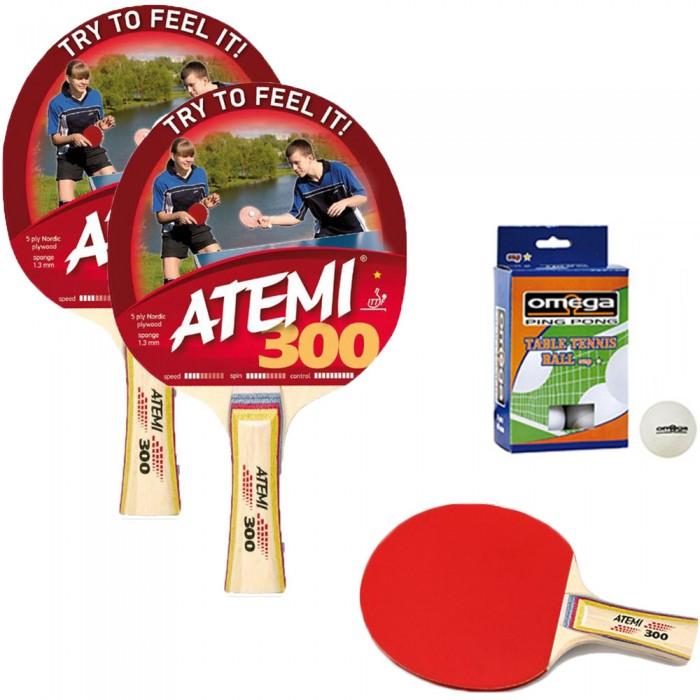 Atemi 300 coppia racchette da ping pong-tennis da tavolo omologate. dorso rosso-nero, con dodici (12) palline in omaggio.
