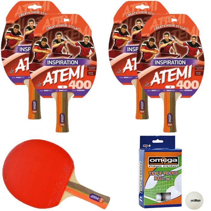 Atemi 400 linea Traning 4 racchette da ping pong (tennis da tavolo) dorso rosso-nero, modello approvato dalla Federazione Internazionale del Ping Pong.