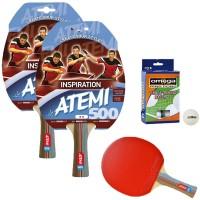Atemi 500 linea Traning 2 racchette da ping pong (tennis da tavolo) dorso rosso-nero, modello approvato dalla Federazione Internazionale del Ping Pong.