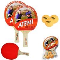 Atemi Hobby racchette da ping pong -tennis da tavolo set due (2) racchette dorsi rosso-nero, con tre (3) palline 1Star arancio.