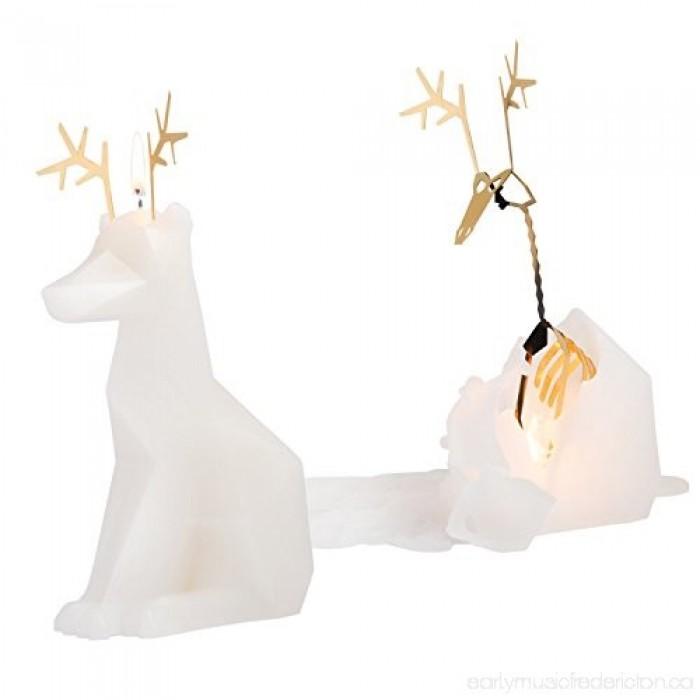 Pyro Pet Dyri-la renna candela in cera scolpita con le forme di una augurale renna bianca, con incorporato lo scheletro, artigianale metallico, dalle simpatiche forme di una renna.
