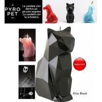 Pyro Pet Kisa-il gatto candela in cera scolpita dalle sembianze di un simpatico gatto nero, con incorporato lo scheletro, artigianale, in metallo dalle sinistre forme di un gatto in agguato.