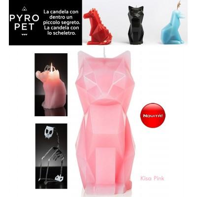 Pyro Pet Kisa-il gatto candela in cera scolpita con le forme di un simpatico gatto rosa, con incorporato lo scheletro, artigianale, in metallo dalle sinistre forme di un gatto in agguato.