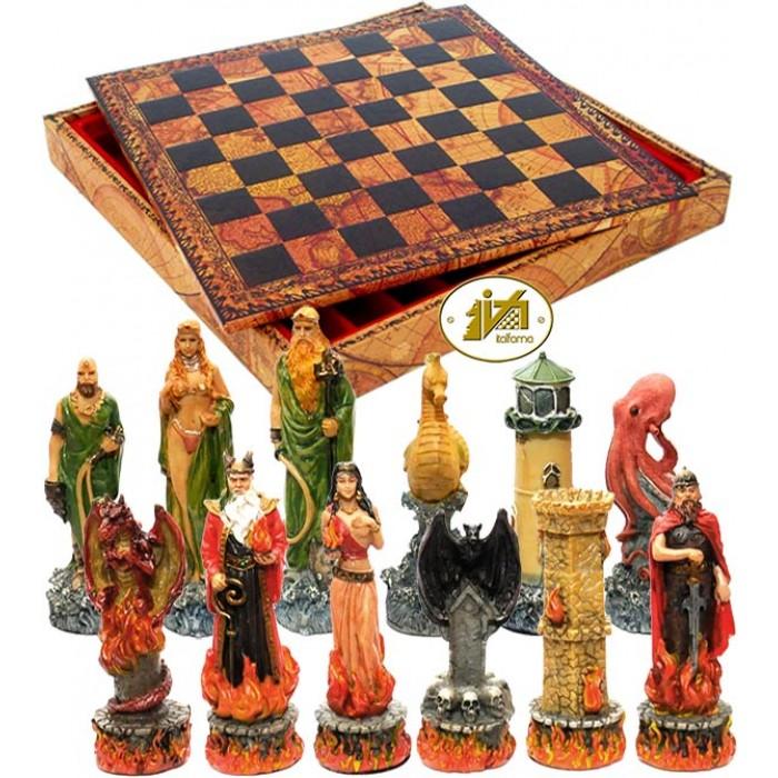Completo scacchi tematici Italfama figure dell' Acqua e del Fuoco. . Re h cm.8 e scacchiera Italfama, douple face scacchi e backgammon, con contenitore, in simil cuoio antico mappamondo, dimensioni cm.35x35x4 con casa mm.35.