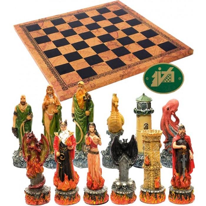 Completo scacchi tematici Italfama figure dell' Acqua e del Fuoco. Re h cm.8 con scacchiera Italfama, similcuoio, antica carta geografica, cm. 40x40, campo da gioco cm. 36x36, casa mm.45x45.