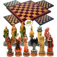 Completo scacchi tematici Italfama figure dell' Acqua e del Fuoco. Re h cm.8 con scacchiera Italfama, similcuoio, colore a scelta, cm. 40x40, campo da gioco cm. 36x36, casa mm.45x45.