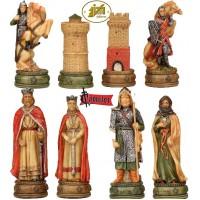Scacchi artistici tematici Italfama figure della leggenda di Camelot. Re h cm.8, con scacchiera Italfama, similcuoio, colore a scelta, cm. 33x33, casa cm. 3,5x3,5.