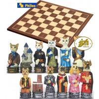 Scacchi artistici tematici Italfama, figure di cani contro gatti. Re h cm.8, con scacchiera in legno Kopenhagen dimensioni cm.45x45x1,3, casa mm.40x40.