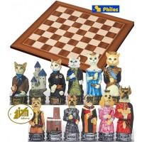 Scacchi artistici tematici Italfama, figure di cani contro gatti. Re h cm.8, con scacchiera in legno Londra dimensioni cm.45x45x1,3, casa mm.45x45.