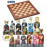 Scacchi artistici tematici Italfama, figure di cani contro gatti. Re h cm.8, con scacchiera in legno Londra, con coordinate, dimensioni cm.40x40x1,3, casa mm.40x40.