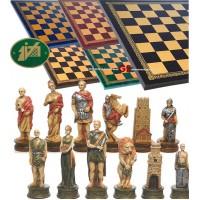 Completo scacchi tematici figure dell' antichità Romani vs Gladiatori. Re h cm.8, e scacchiera Italfama similcuoio, colore a scelta, cm. 40x40, campo da gioco cm. 36x36, casa mm.45x45.