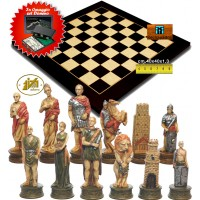 Completo scacchi tematici Romani vs Gladiatori. Re h cm.8 e scacchiera Rechapados 1135-40 intarsio black anigre e acero cm.40x40x1,3, casa mm.40x40. Set domino in omaggio.