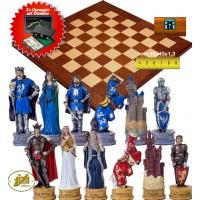 Completo scacchi tematici King Artur. Re h cm.8 e scacchiera Rechapados intarsio mogano e acero cm.45x45x1,3, casa mm.45x45. Set domino in omaggio.