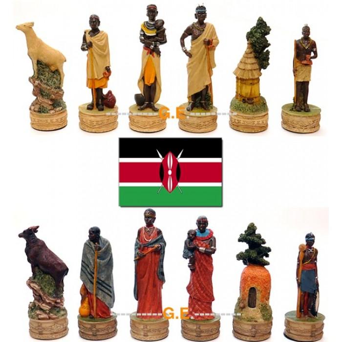 Scacchi artistici figurati a tema, in resina dipinti a mano, Italfama Firenze. Figure delle tribù africane Masai. Re ht. cm.8. base diametro cm.2,5. Originale Idea regalo!