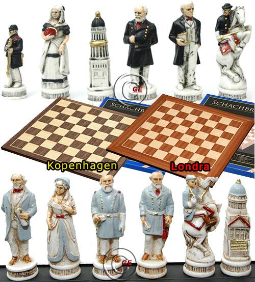 Completo scacchi artistici tematici, figure della Guerra Civile Americana Nordisti vs Sudisti. Re h cm.8,2, e a scelta scacchiera in legno Londra o scacchiera in legno Kopenhagen. Dimensioni cm.45x45, casa cm. 4,5x4,5.